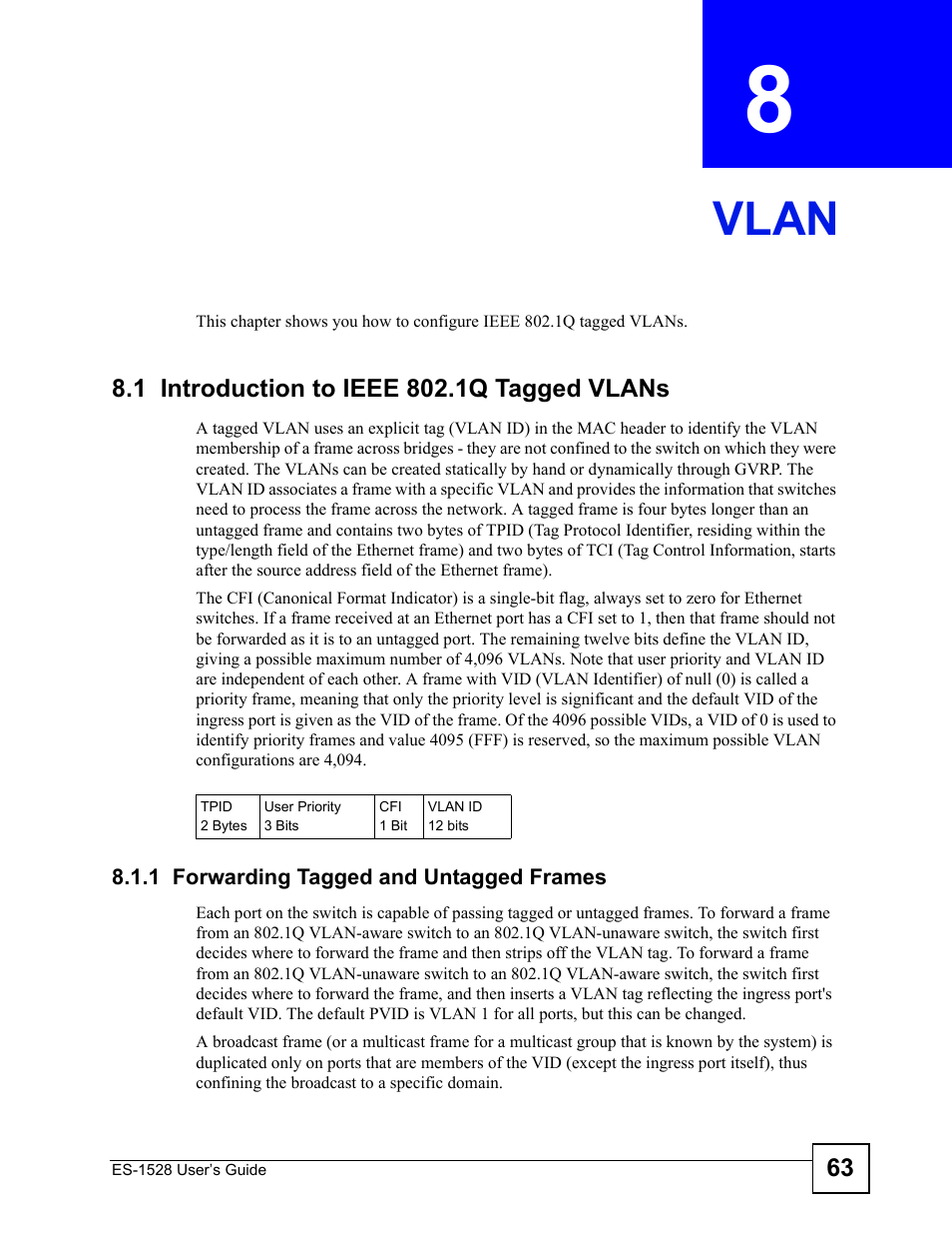 Vlan, 1 introduction to ieee 802.1q tagged vlans, 1 forwarding ...