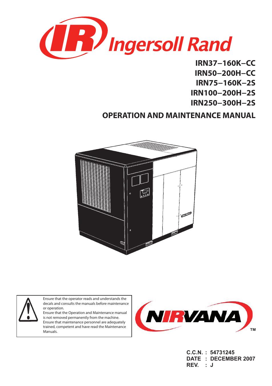 Ingersoll-Rand NIRVANA IRN75-160K-2S User Manual | 100 pages | Also for:  NIRVANA IRN50-200H-CC, NIRVANA IRN100-200H-2S, NIRVANA IRN37-160K-CC, ...