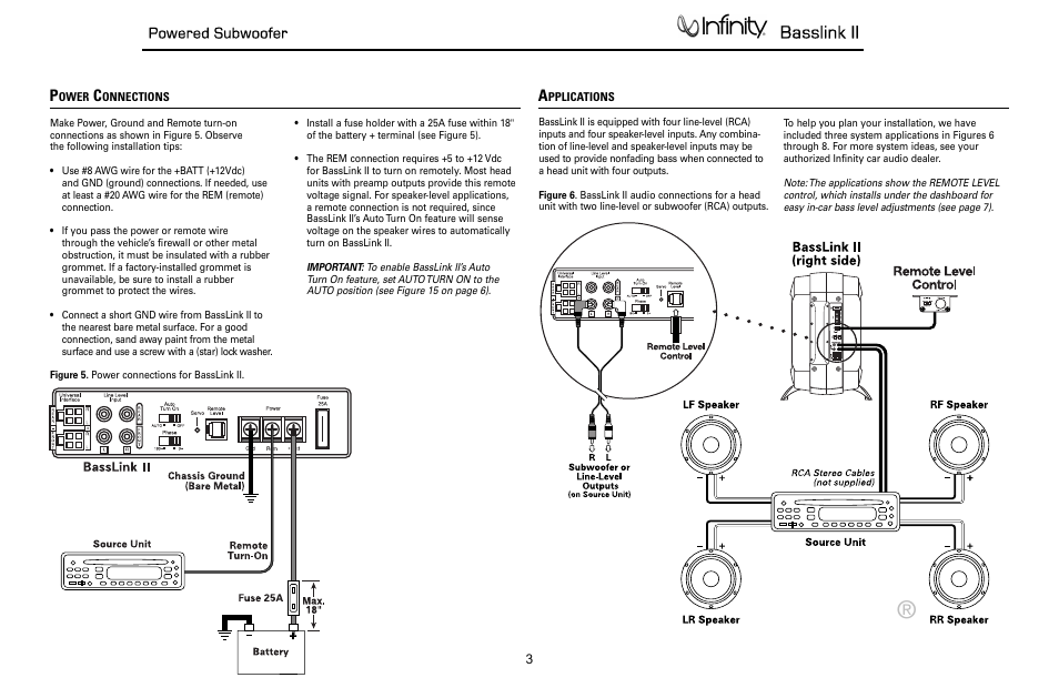 connections applications basslink ii infinity powered subwoofer connections applications basslink ii infinity powered subwoofer basslink ii none user manual page 4 34