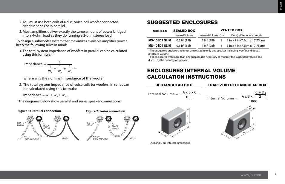 Suggested enclosures   JBL MS-10SD4 SLIM User Manual   Page