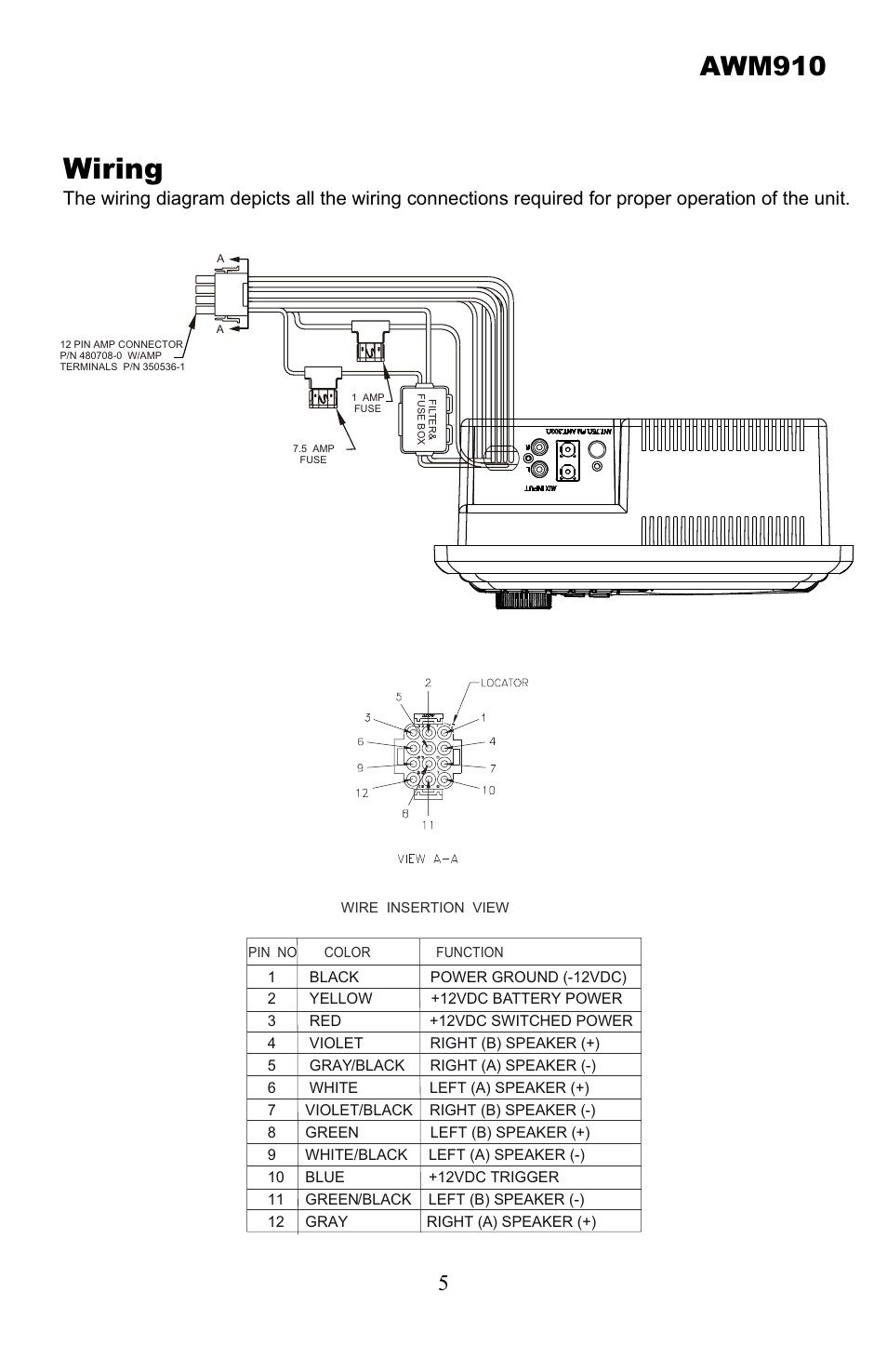 jensen-awm910-page5  Pin Speaker Wiring Diagram on 8 relay diagram, 8 speaker cabinet, 8 recessed lighting diagram, 8 speaker dimensions,