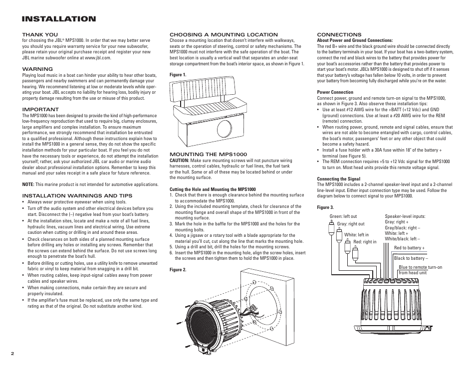 Installation | JBL MARINE MPS1000 User Manual | Page 2 / 4 ... on