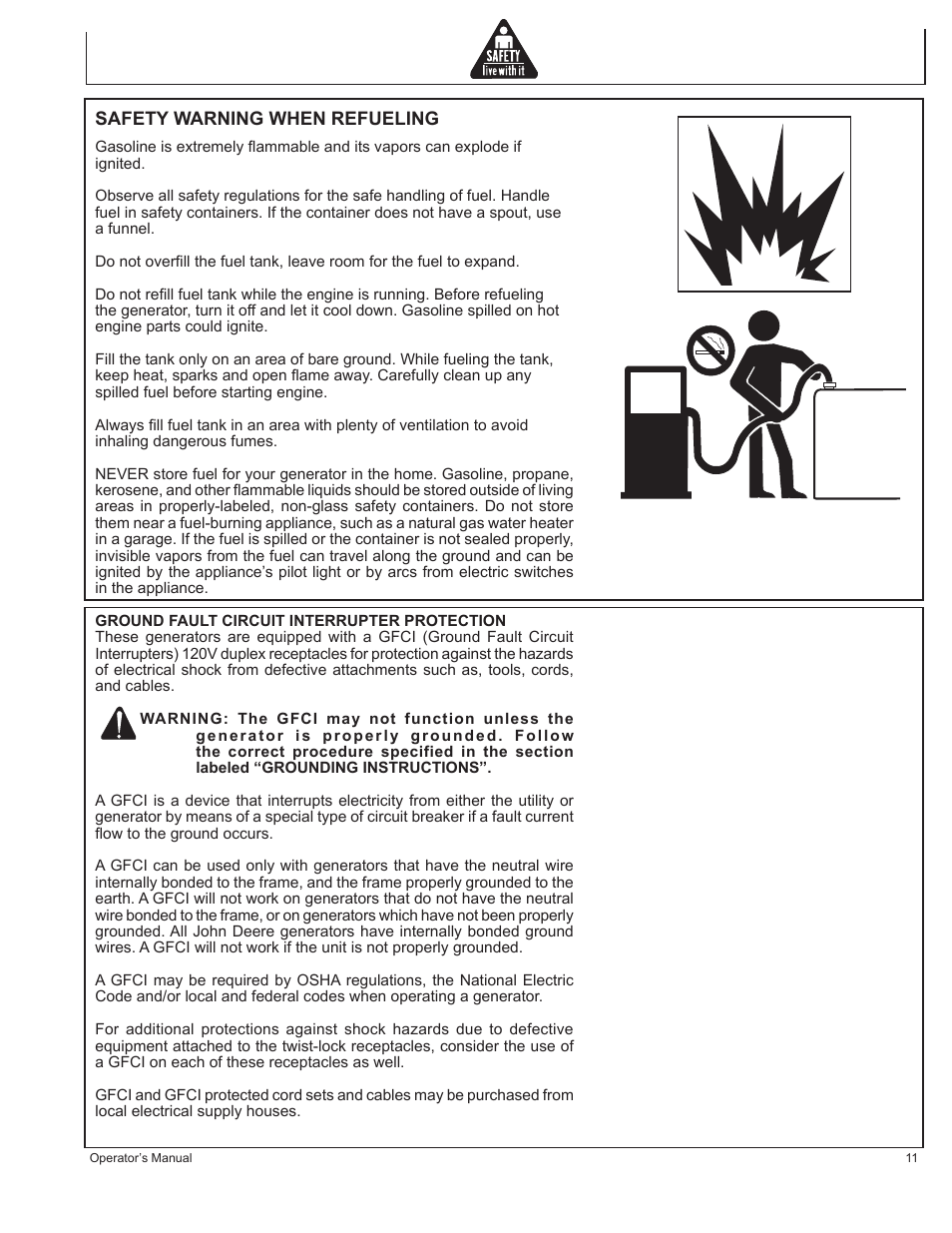 John Deere Hr G1100 User Manual Page 11 124 Groundfault Circuit Interrupter Protects From Electric Shock Gfci