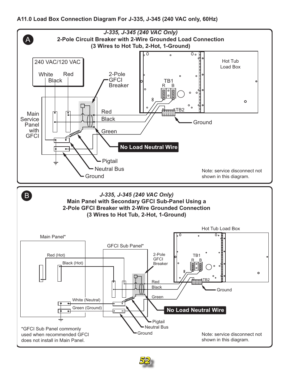 A11.0 load box connection diagrams | Jacuzzi j315 User ... on