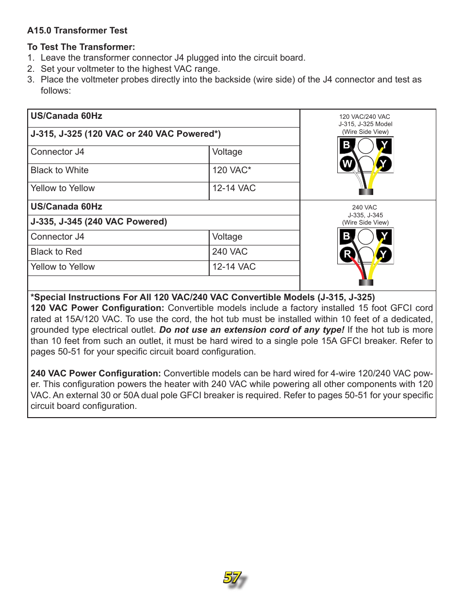 A15.0 transformer test | Jacuzzi j315 User Manual | Page 57 / 62 on