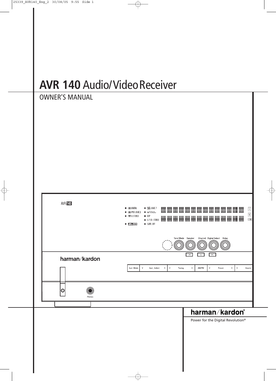 JBL AVR 140 User Manual | 46 pages