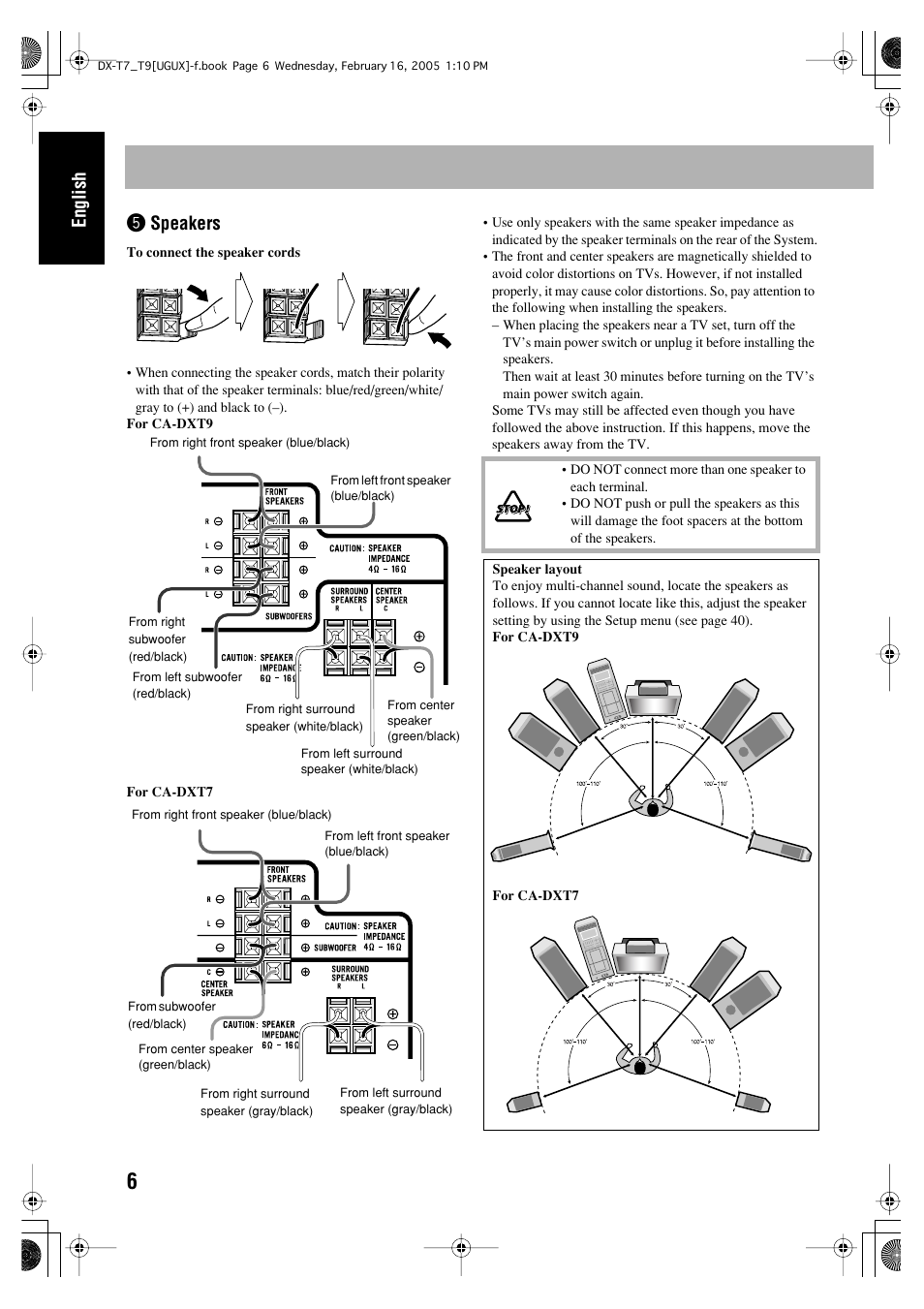 English, Speakers | JVC CA-DXT7 User Manual | Page 65 / 212