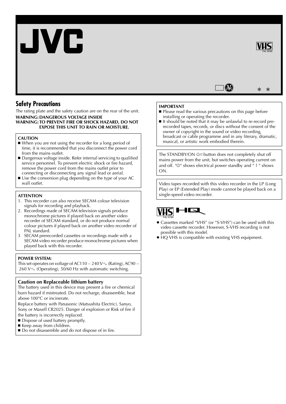 Jvc Hr J381em User Manual 16 Pages Also For J387em Automatic Mains Disconnect