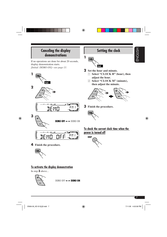 Jvc Kd S12 Owners Manual S37 Wiring Diagram Canceling The Display Demonstrations Setting Clock Rh Manualsdir Com Sr40