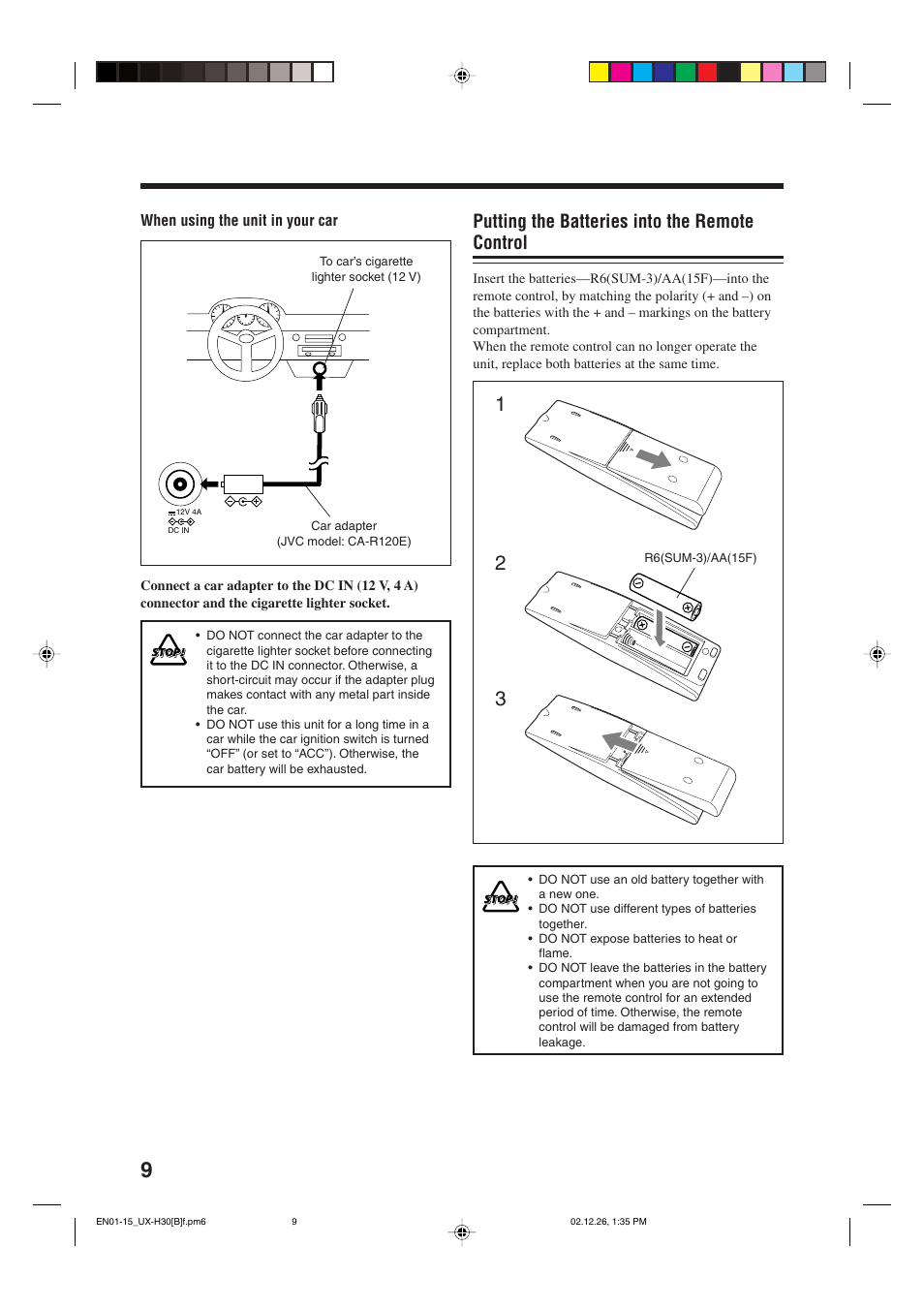 Putting The Batteries Into Remote Control Jvc Ca Uxh35 User Short Circuit Car Battery Manual Page 12 32