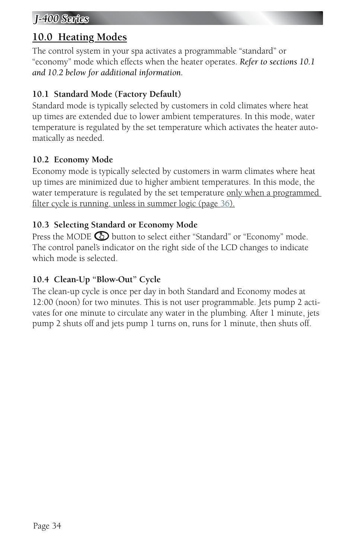 0 heating modes 1 standard mode factory default 2 economy mode rh manualsdir com