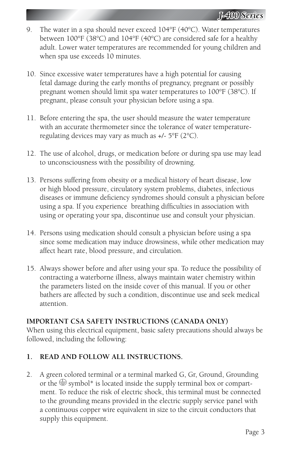 J 400 Series Jacuzzi 480 User Manual Page 7 70 Original Mode Circuit Definition For Kids