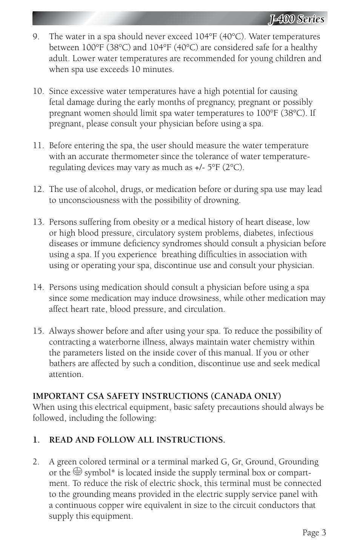 J 400 Series Jacuzzi J 480 User Manual Page 7 70 Original Mode
