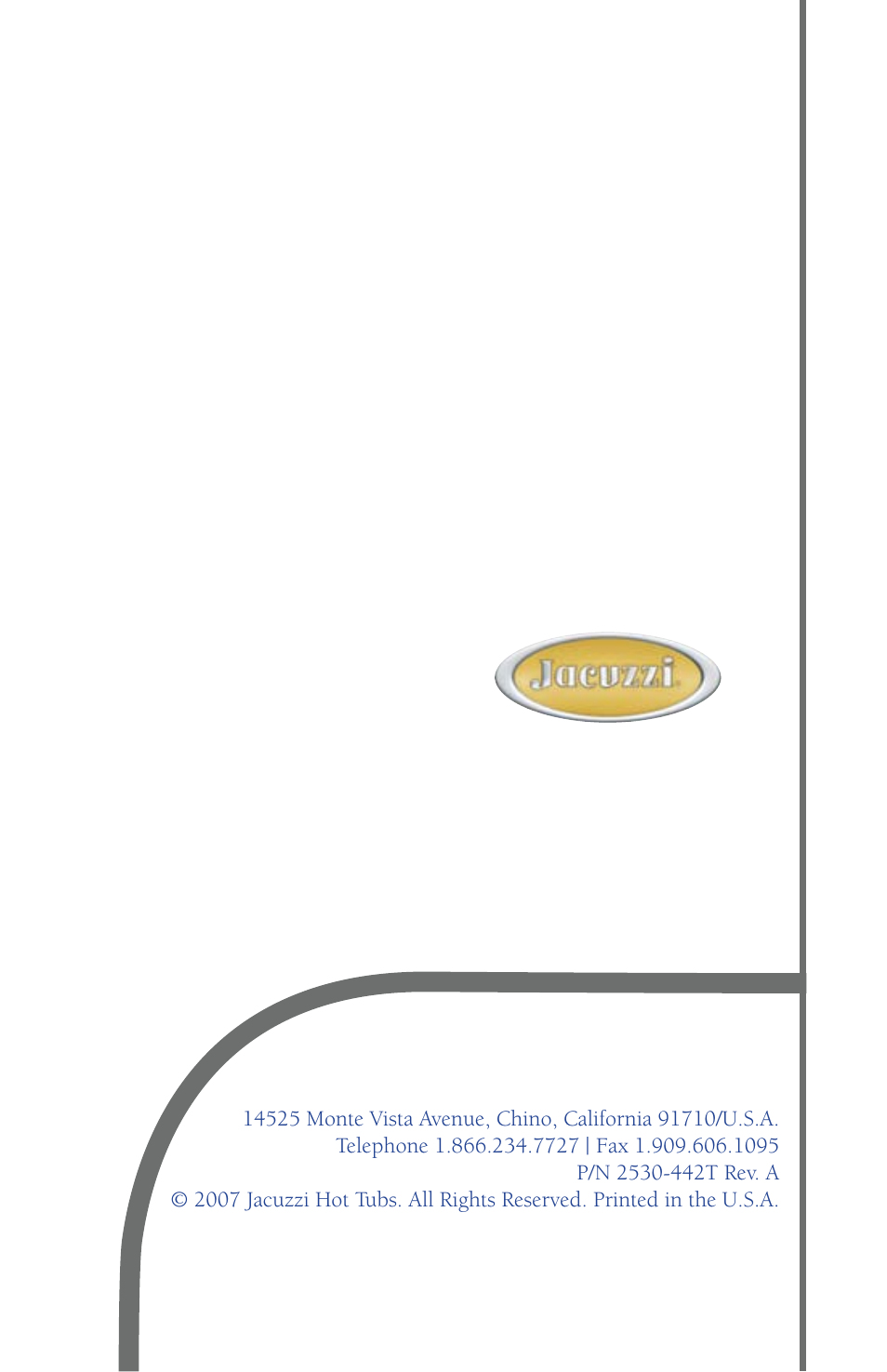 Back cover/ company info | Jacuzzi J - 480 User Manual | Page 70 ...