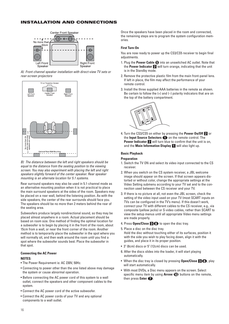 JBL CS3 User Manual | Page 16 / 36 | Original mode | Also for: CS5