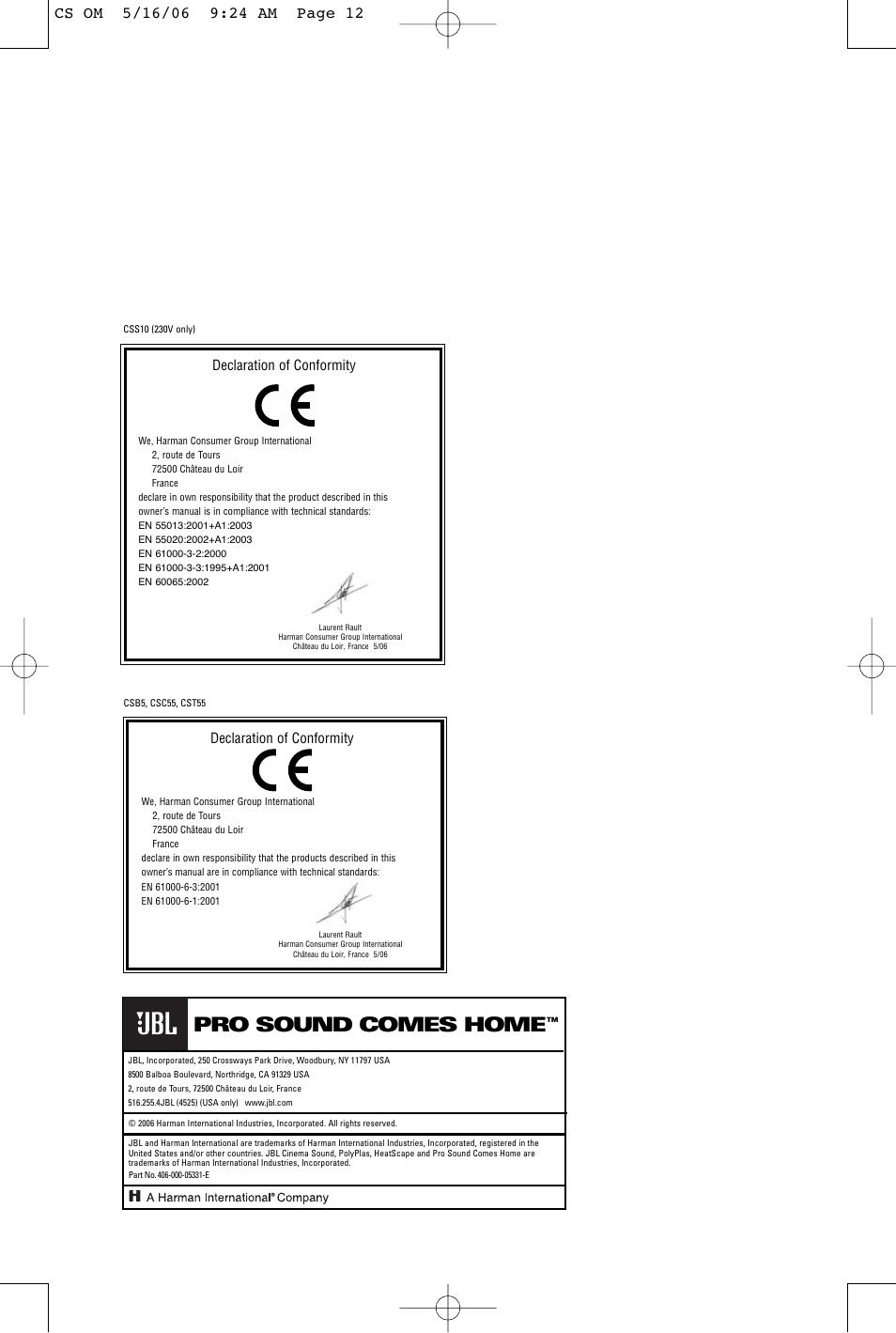 pro sound comes home declaration of conformity jbl css10 user rh manualsdir com
