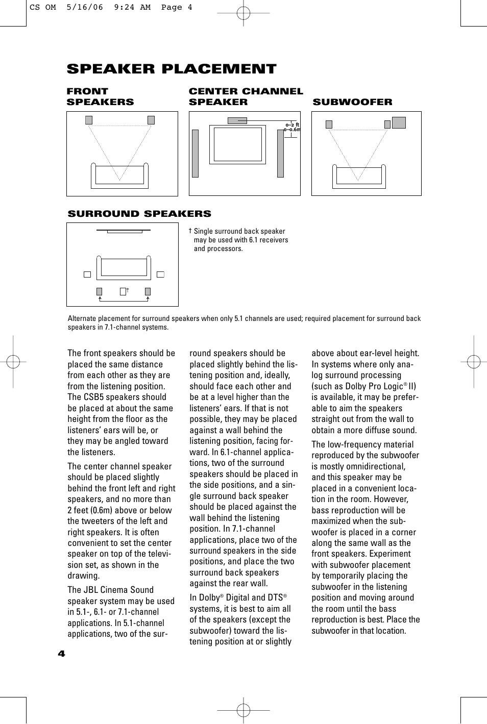 speaker placement jbl css10 user manual page 4 12 original mode rh manualsdir com