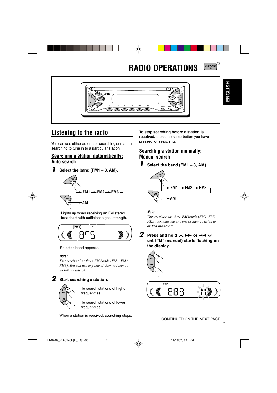Radio operations, Listening to the radio, Searching a station  automatically: auto search | JVC KD-S73R User Manual | Page 7 / 32
