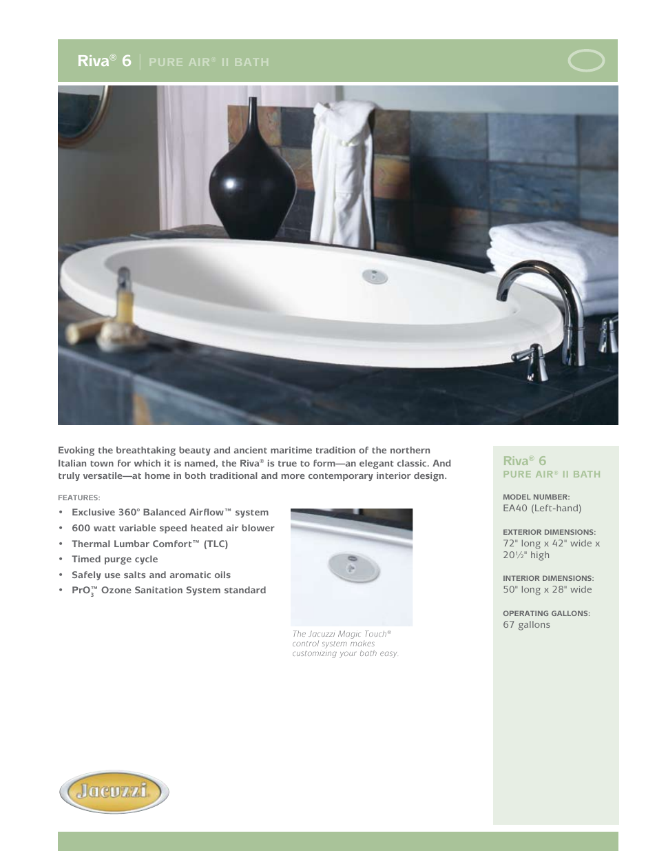 Jacuzzi Riva 6 Pure Air II Bath EA40 User Manual | 2 pages
