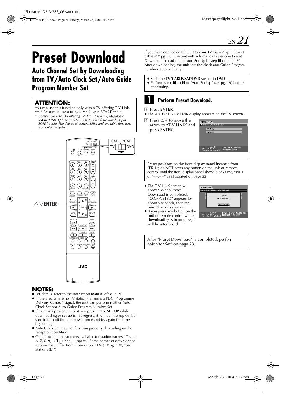 Preset download, Wnload function, Pg. 21) | JVC DR-M7S User Manual | Page  21 / 116 | Original mode