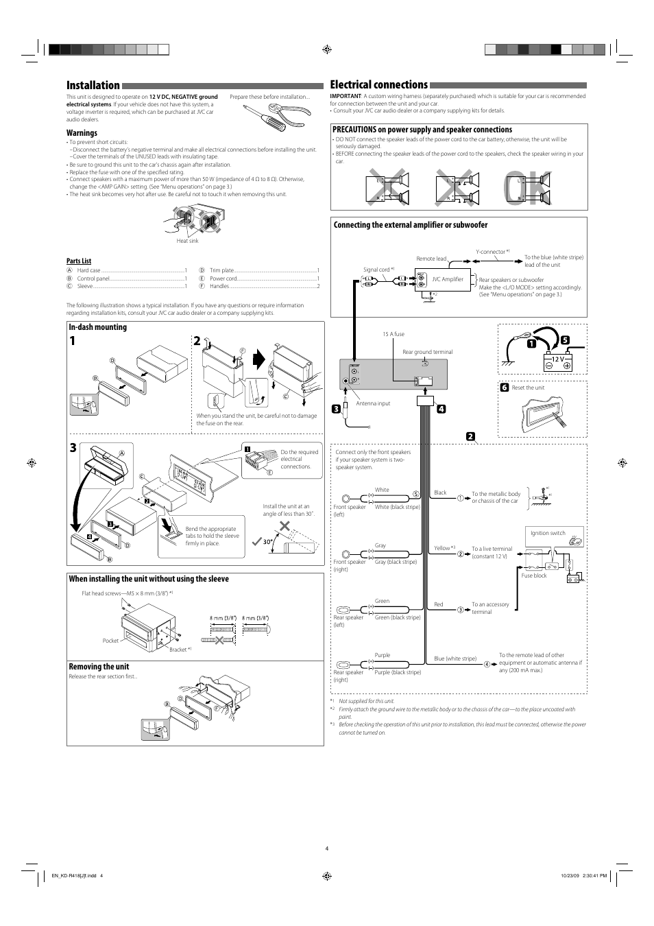 Installation, Electrical connections, Warnings | Connecting the external  amplifier or subwoofer, Parts list