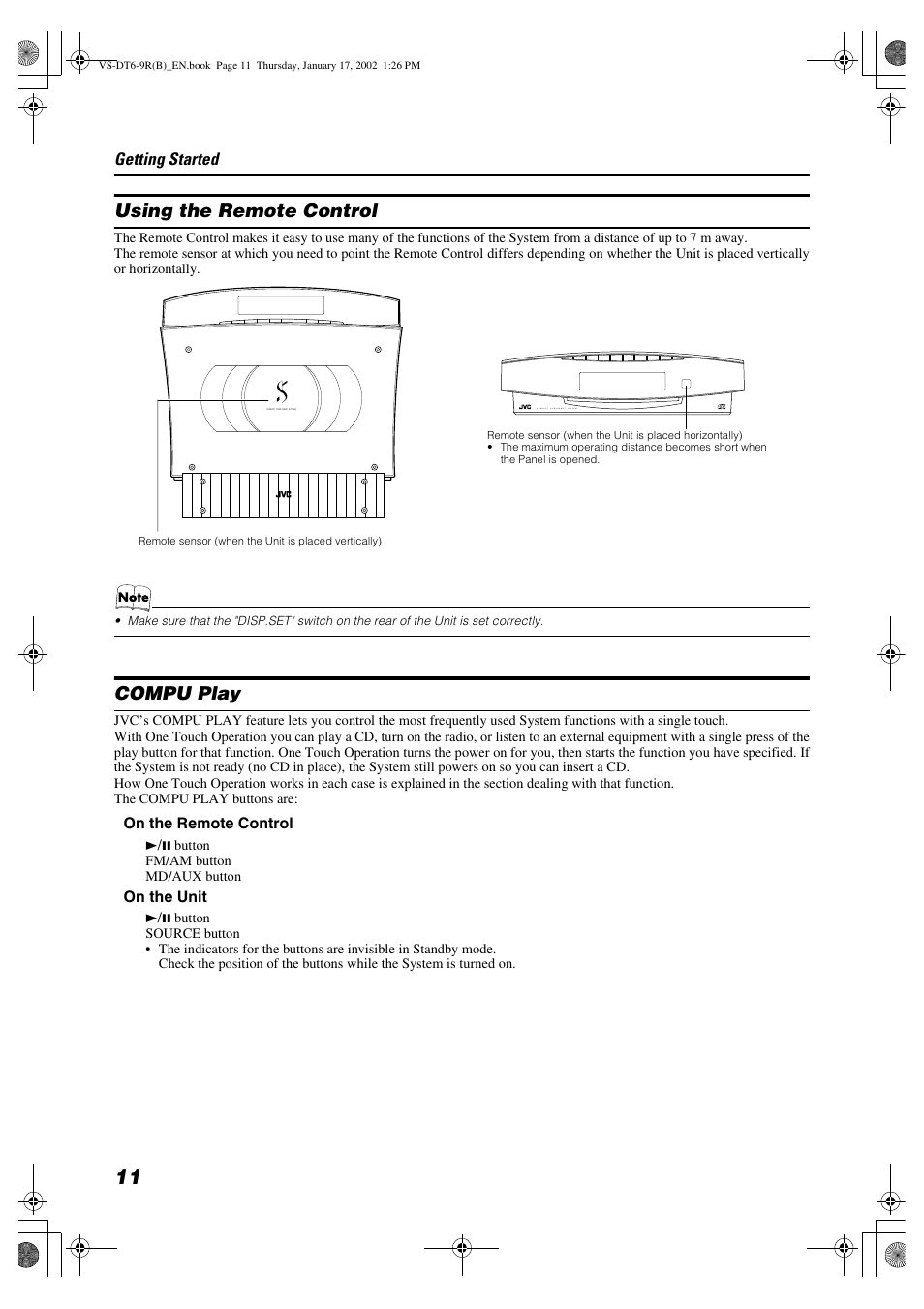 Using the remote control, Compu play | JVC VS-DT6R EN User Manual | Page 14  / 32