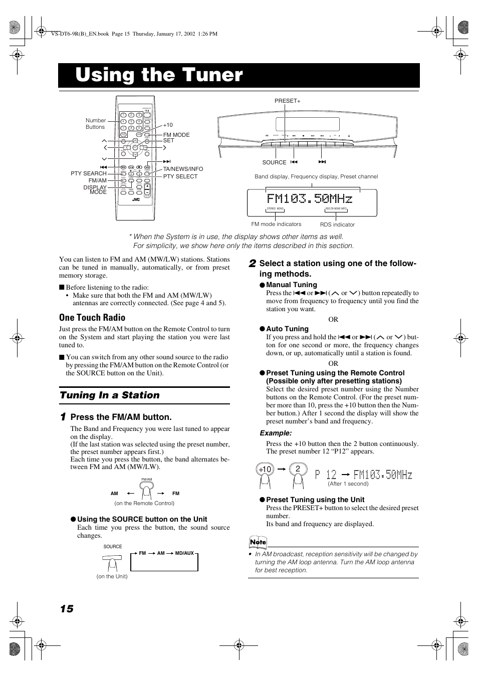 Using the tuner, One touch radio, Tuning in a station | JVC VS-DT6R EN User  Manual | Page 18 / 32