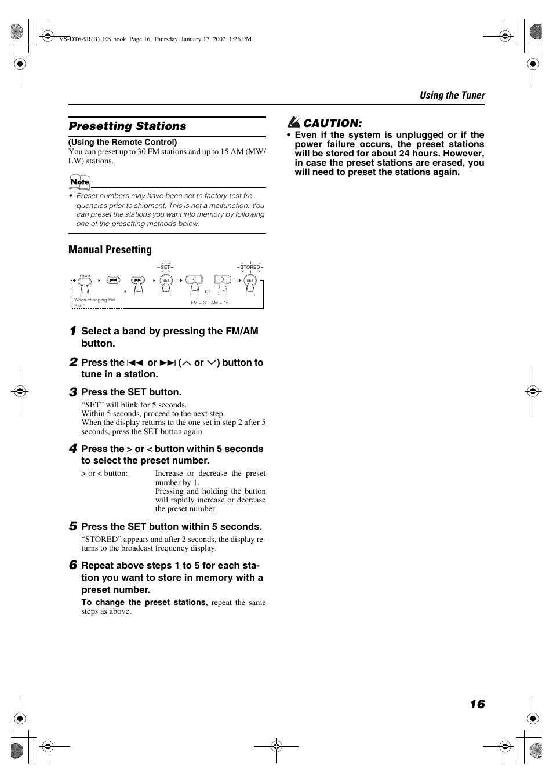 Presetting stations, Manual presetting | JVC VS-DT6R EN User Manual | Page  19 / 32