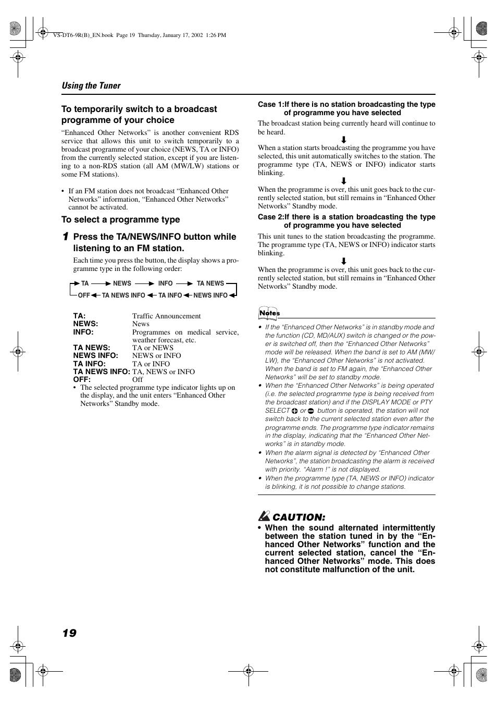 Caution | JVC VS-DT6R EN User Manual | Page 22 / 32