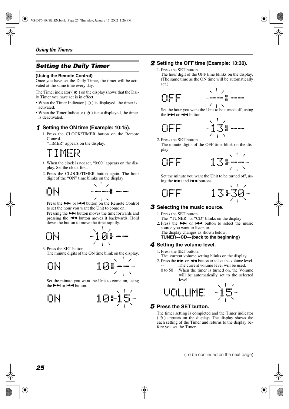 Setting the daily timer | JVC VS-DT6R EN User Manual | Page 28 /