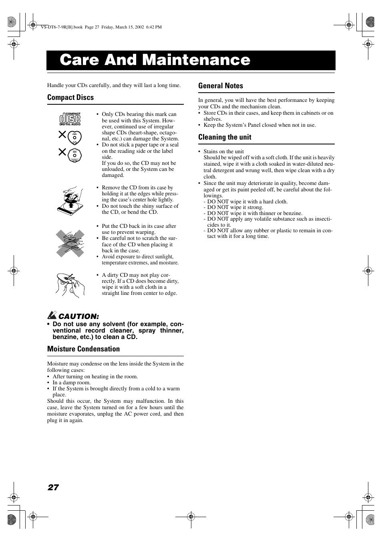 Care and maintenance, Compact discs, Moisture condensation | JVC VS-DT6R EN User  Manual | Page 30 / 32