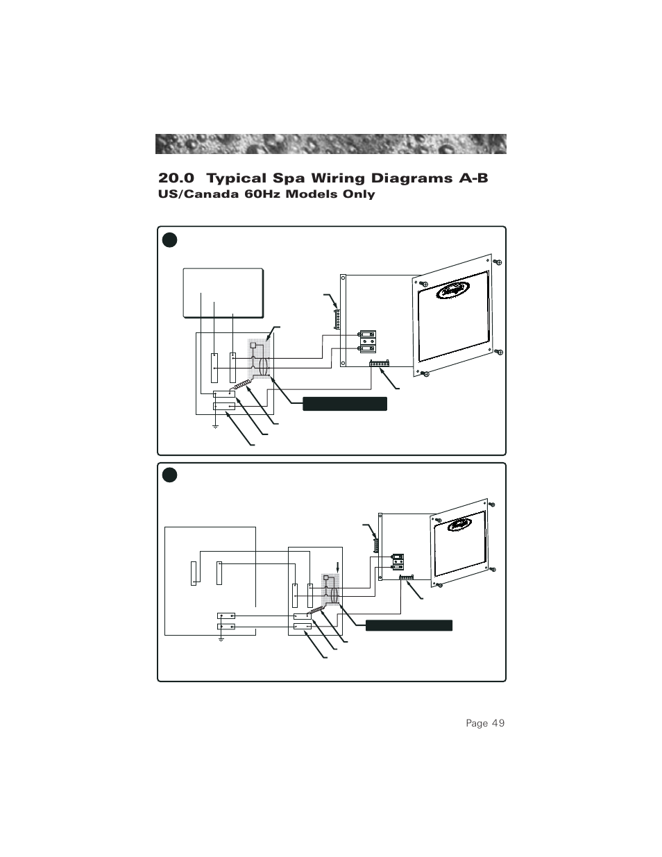 0 Typical Spa Wiring Diagrams A B 60hz Models 2wire Gfci Diagram Us Canada Only Jacuzzi Protech Lcd User Manual Page 53