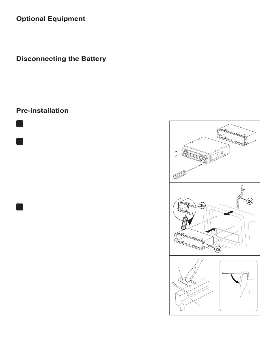 Optional equipment, Disconnecting the battery, Pre-installation | Jensen  VM9214 User Manual |