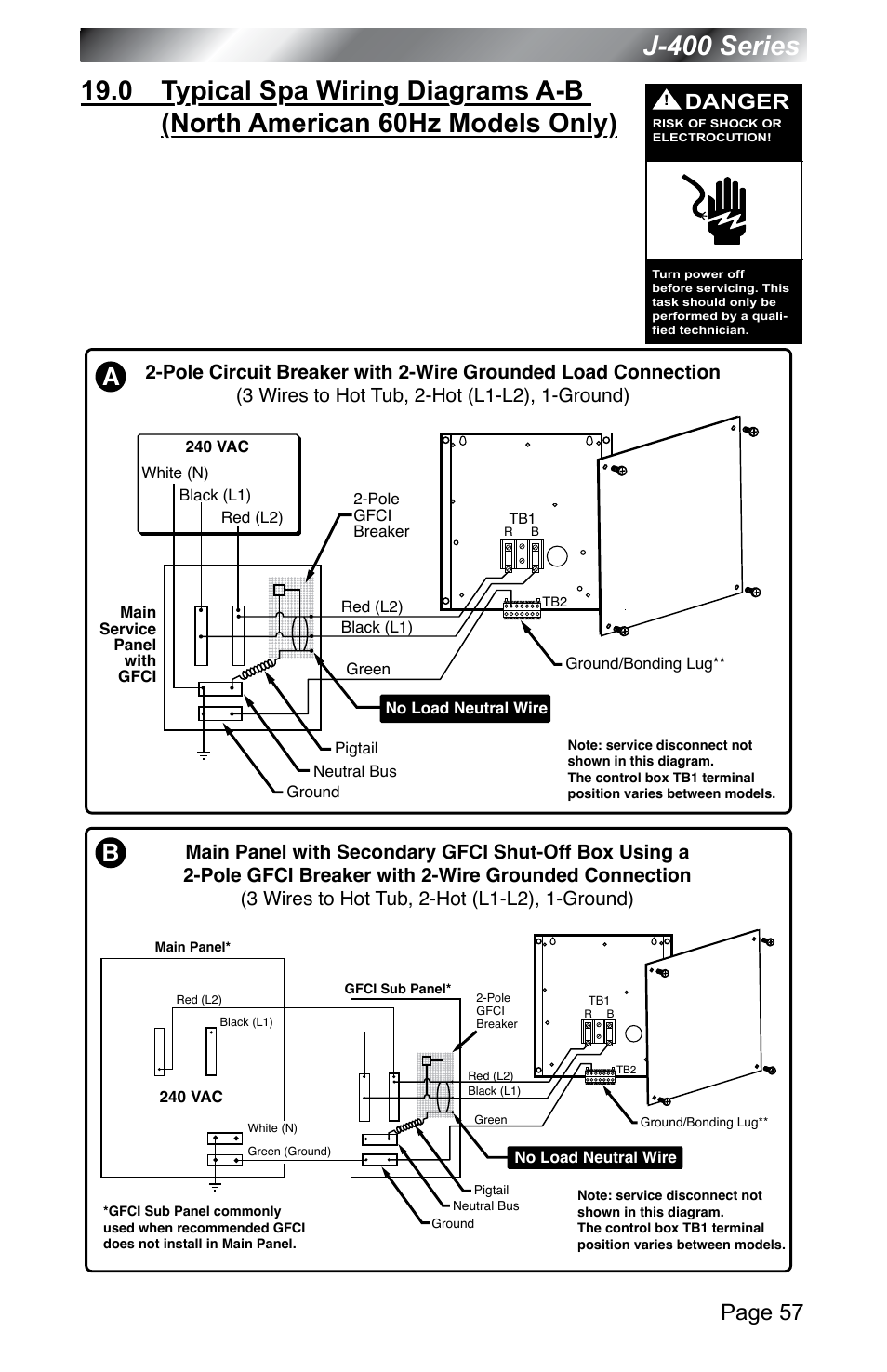 Models Only J 400 Series Page 57 Jacuzzi 460 Main Panel Wiring User Manual 62 77