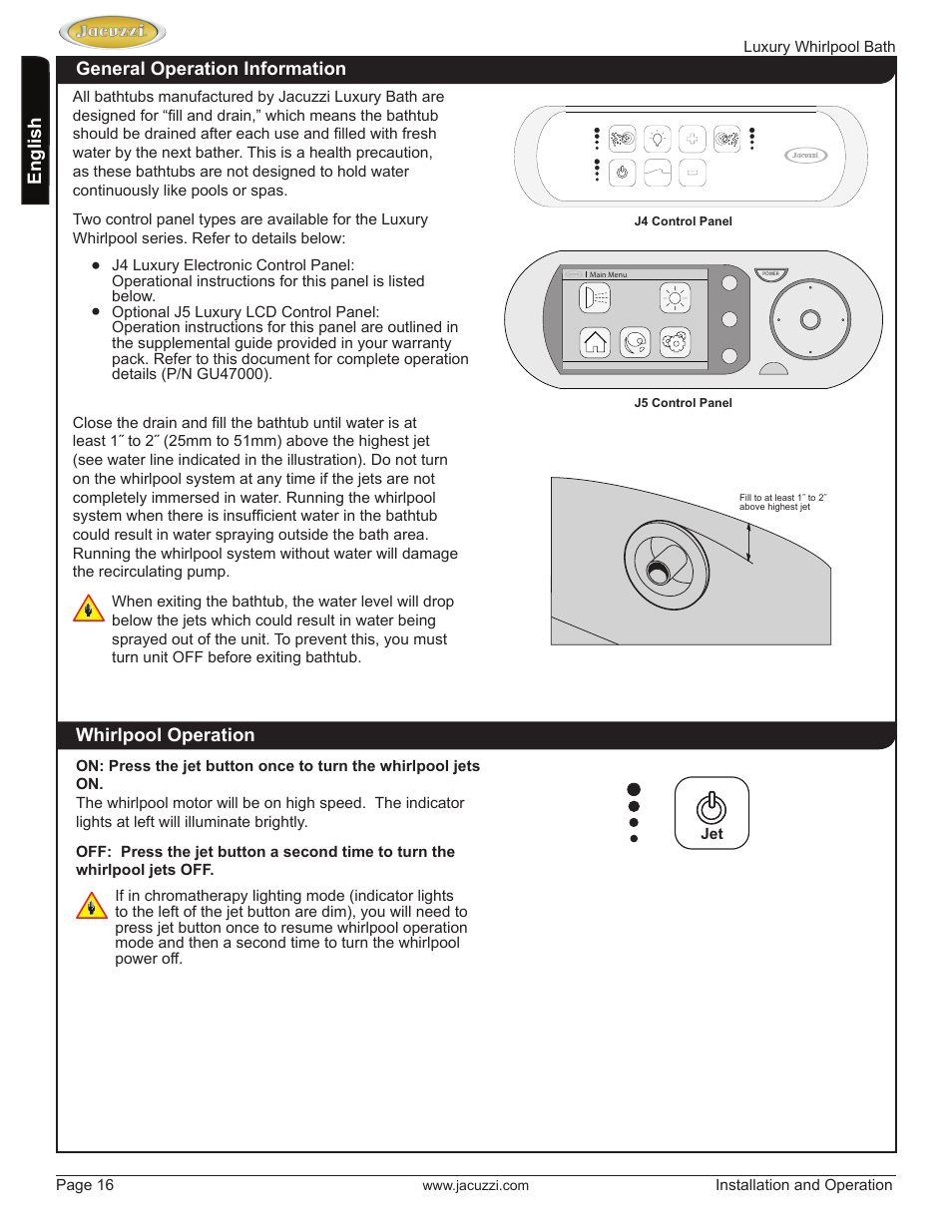 Jacuzzi HD84000 User Manual | Page 16 / 72