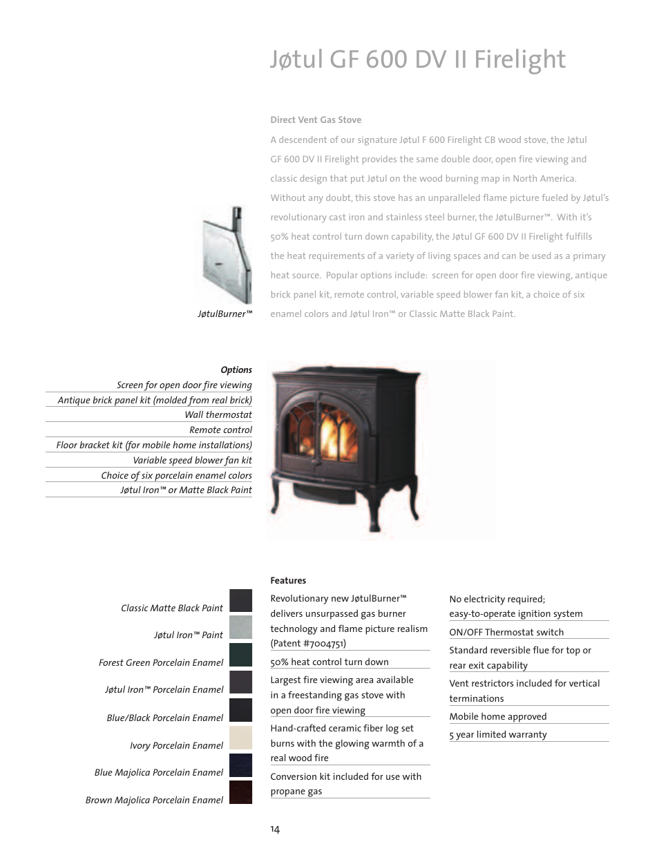 Jøtul Gf 600 Dv Ii Firelight Jotul Gas Stove User Manual