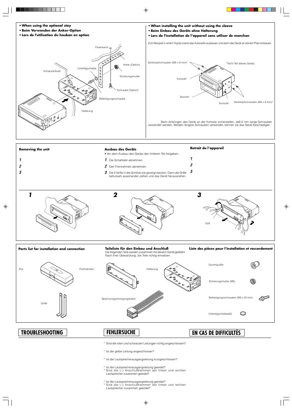 Fehlersuche, Troubleshooting, En cas de difficultés | JVC KD-S676R User  Manual |