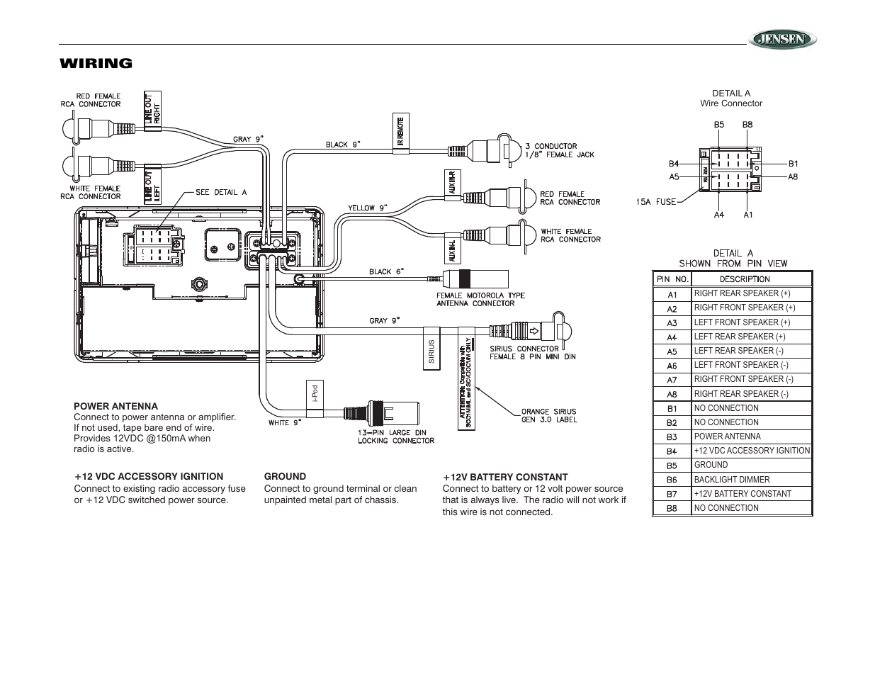 jensen car stereo wiring diagram jrv210, wiring | jensen jrv210 user manual | page 5 / 20 jensen car audio wiring diagram #3