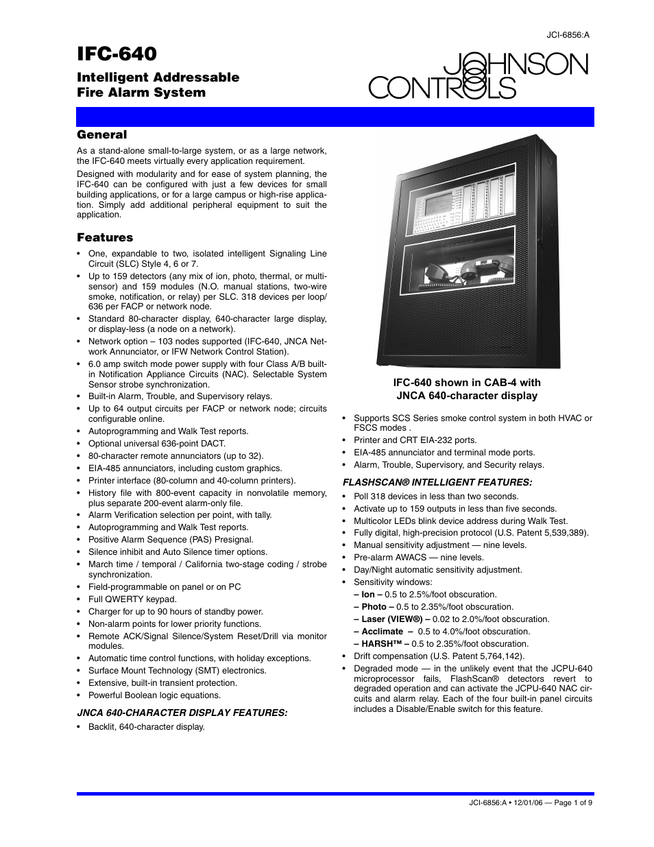 Johnson Controls IFC-640 User Manual | 9 pages