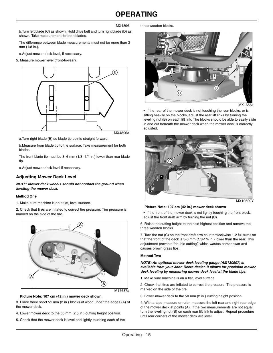 Adjusting Mower Deck Level Method One Two John Deere La105 User Manual Page 16 52
