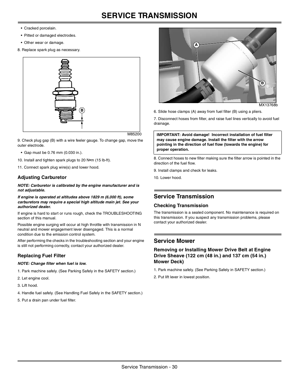 Adjusting Carburetor Replacing Fuel Filter Service Transmission S 10 John Deere La105 User Manual Page 31 52
