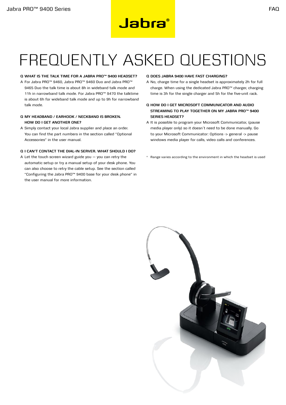 Frequently Asked Questions Jabra Pro 9400 Series Jabra Pro 9400 User Manual Page 3 3