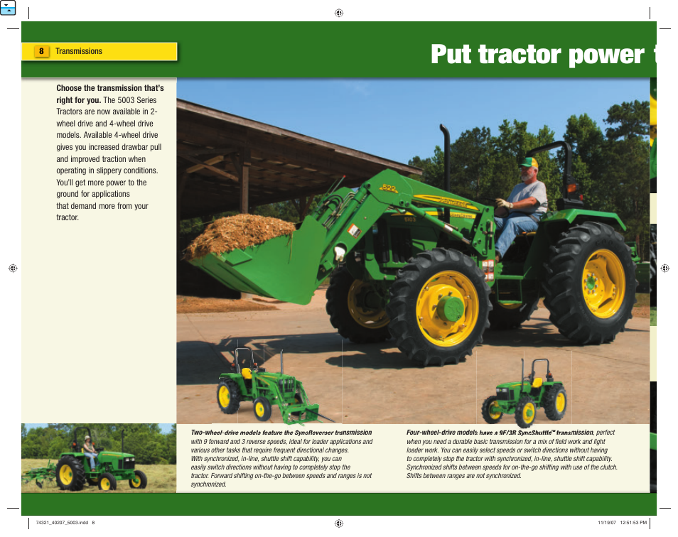 Put tractor power t | John Deere 5403 User Manual | Page 8 / 16
