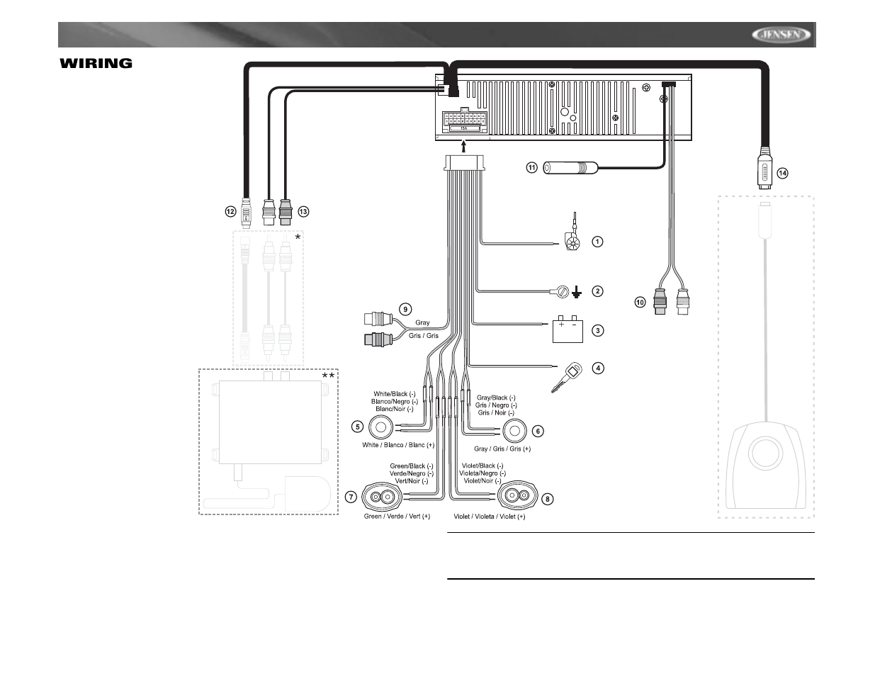 Cdx6311     Wiring      Jensen CDX6311 User Manual   Page 7  52