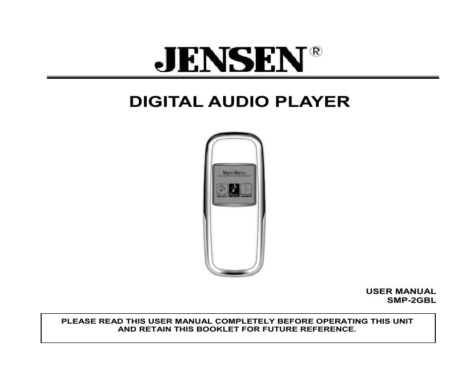 jensen smp xgbl user manual 11 pages also for smp 2gbl rh manualsdir com Jensen Digital Audio Player 2GB Jensen Speakers