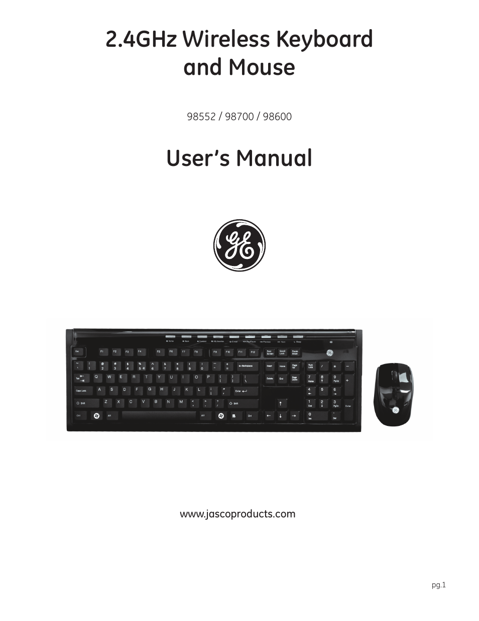GE 98600 2.4GHz Wireless Keyboard & Mouse User Manual | 7 pages | Also for:  98552 2.4GHz Wireless Keyboard & Mouse, 98700 2.4GHz Wireless Keyboard &  Mouse