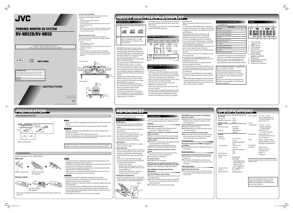 Jvc Rv Nb52b User Manual 2 Pages Also For Rv Nb50