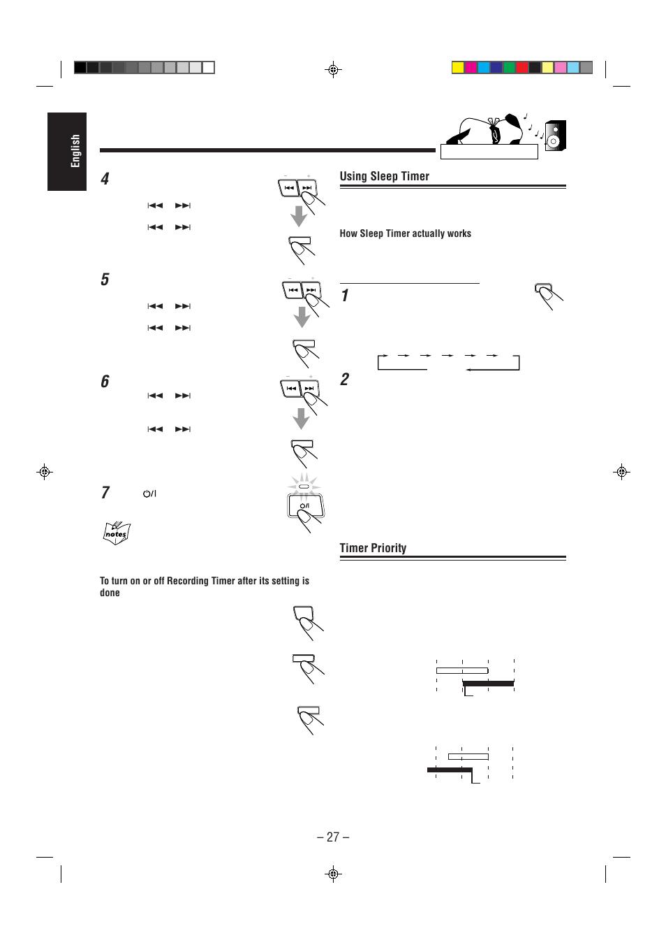 Using sleep timer, Timer priority | JVC CA-MXJ75R User Manual | Page