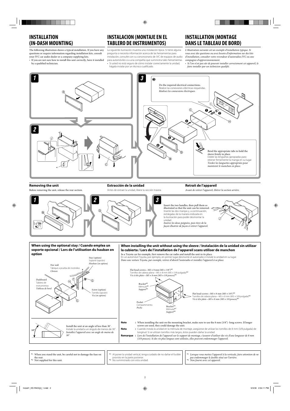 Installation (in-dash mounting), Installation (montage dans