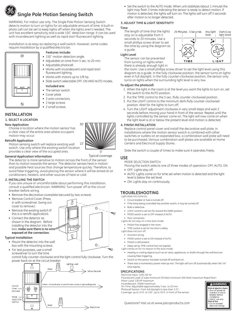 Ge 57885 Ge Motion Sensing Single Pole Switch White User Manual